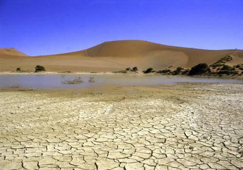 Wasser in der Wüste bei Sossusvlei im Naukluft Nationalpark