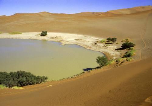 Ein See in der Wüste bei Sossusvlei im Naukluft Nationalpark
