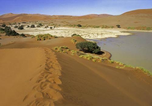 Wasser bei Sossusvlei, eine Dünenlandschaft