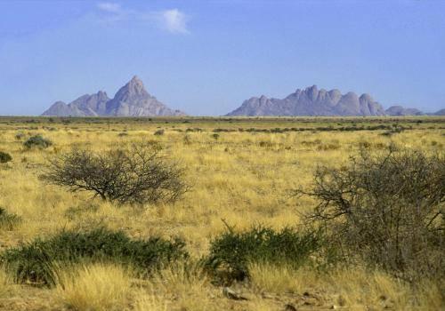 Namibische Landschaft mit vereinzelten Inselbergen