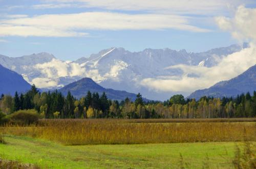Blick aus dem Murnauer Moos in Das Wettersteingebirge