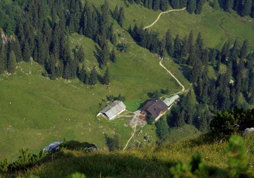 Blick von der Benediktenwand auf die Tutzinger Hütte
