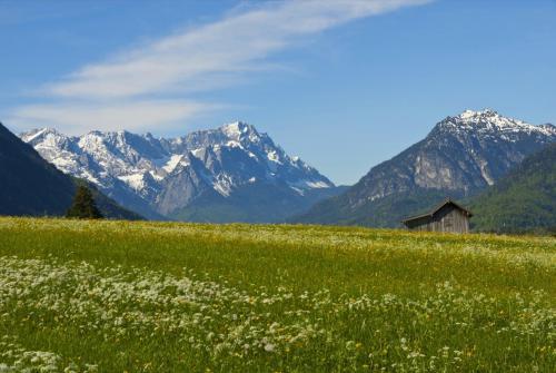 Bei Eschenlohe im Werdenfelserland, hat man diesen Blick in das Wettersteingebirge
