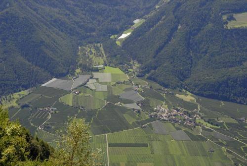 Blick vom Meraner Höhenweg ins Vinschgauer Talbecken mit seinen Obst und Weinanbaugebieten.