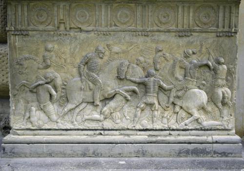 Alte Bildhauerkunstarbeiten in  der Alhambra bei Granada, Andalusien, Spanien