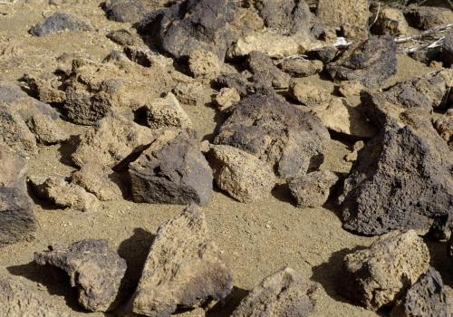 Lavasteine im Sand