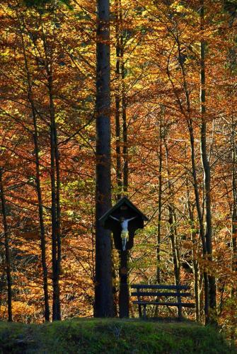 Wegkreuz im Herbstwald am Anstieg zum Pürschling im Ammergebirge