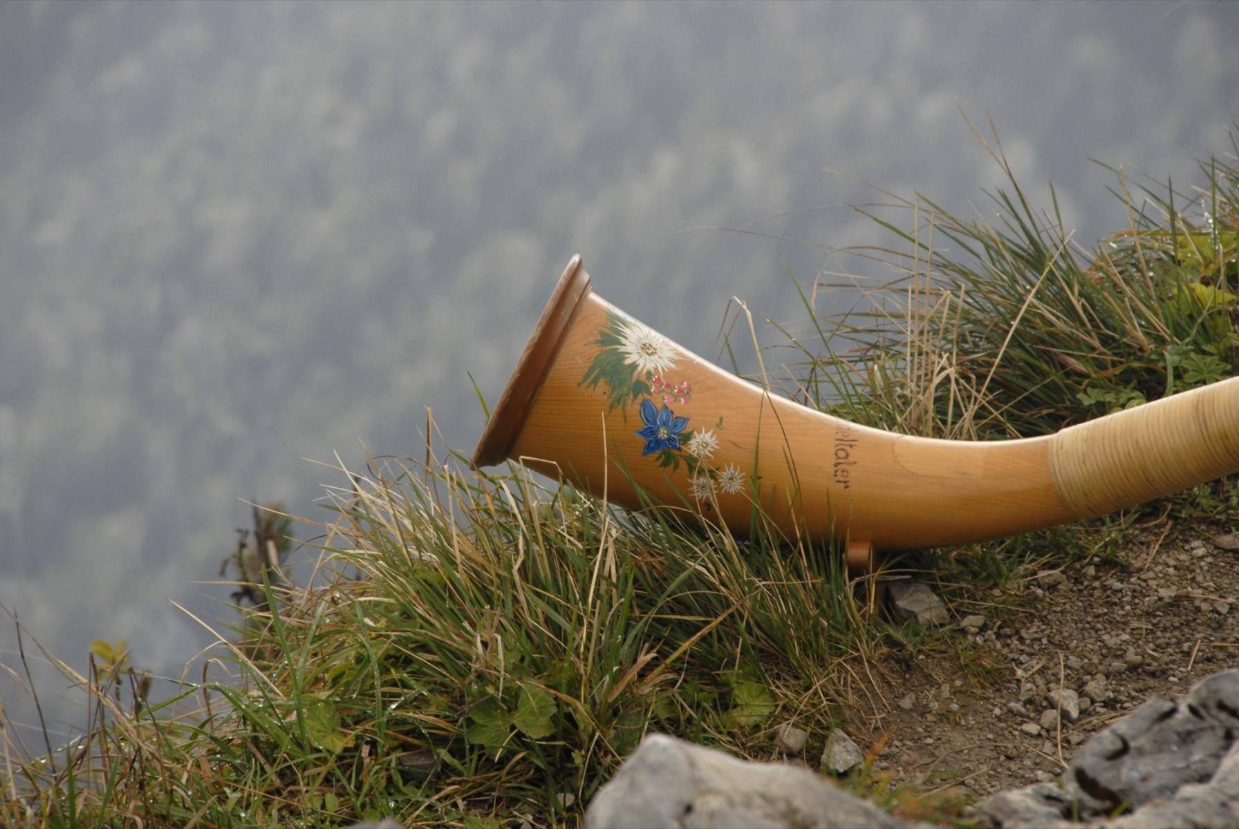 Alphorn auf Berggipfel