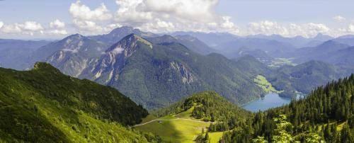 Blick vom Herzogstand zum Jochberg zur Benediktenwand zum Walchensee und in die Jachenau
