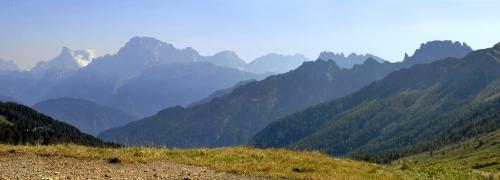 Blick vom Pso. di Valles in die Civetta und in die Palagruppe