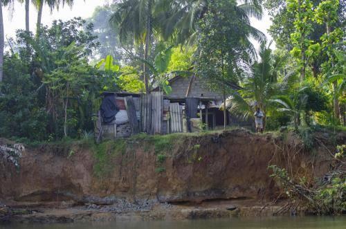 Unterspülte Flußuferböschung am Maha Oma Fluss in Sri Lanka