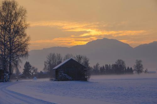 Winterliche Morgenstimmung Nähe Sindelsdorf in Oberbayern