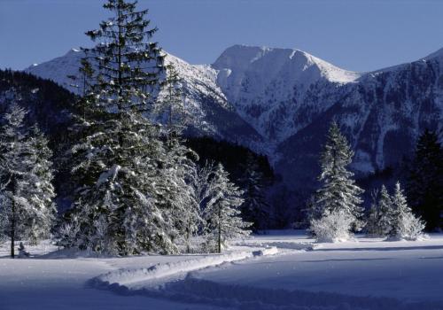 Winterlandschaft im Graswangtal, im Hintergrund das Estergebirge, Oberbayern